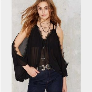 NASTY GAL BLACK SHEER COLD SHOULDER TOP